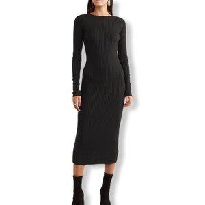 Black long sleeves ribbed knit midi dress small